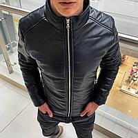 Куртка мужская кожаная до 0*С осенняя весенняя демисезонная чёрная