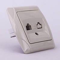 Розетка телефонная VI-KO Carmen скрытой установки (кремовая)