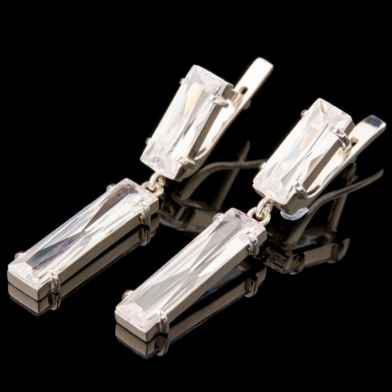 Срібні сережки 925 проби з фіанітами арт. 756с
