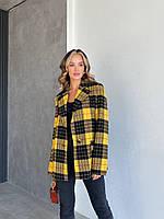 Піджак Манхеттен жіночий з вовни на сатиновою підкладці вільного крою в стильну клітку Pdi324