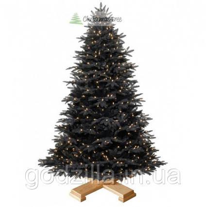 """Ялинка """"Чорна"""" на дерев'яній підставці 185 + гірлянда у подарунок"""