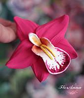 """""""Розовая орхидея с росписью"""" авторская заколка ручной работы из полимерной глины."""