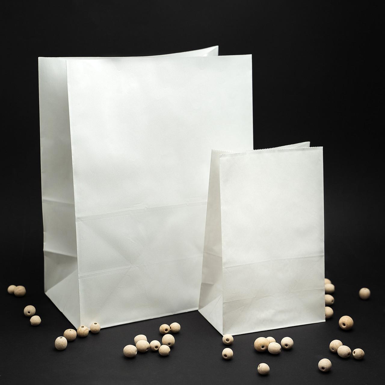 Готовые бумажные пакеты белые 320*150*380 мм Крафт пакеты с плоским дном, упаковка 500 штук