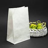 Готові паперові пакети білі 320*150*380 мм Крафт пакети з плоским дном, упаковка 500 штук, фото 2
