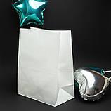 Готовые бумажные пакеты белые 320*150*380 мм Крафт пакеты с плоским дном, упаковка 500 штук, фото 3