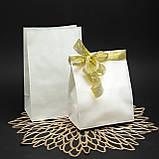 Готовые бумажные пакеты белые 320*150*380 мм Крафт пакеты с плоским дном, упаковка 500 штук, фото 4