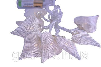 """Новорічна гірлянда """"Серця"""" 8 LED, Білий теплий світло, що на пальчикових батарейках"""