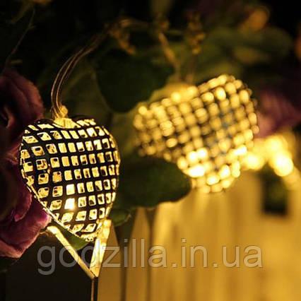 "Новогодняя гирлянда ""Сердца"" 10 LED, Белый теплый свет, на пальчиковых батарейках"