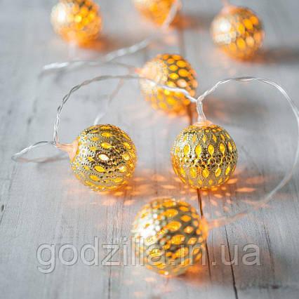 """Новорічна гірлянда """"Кульки"""" 10 LED, Білий теплий світло, Діаметр 4 см, На пальчикових батарейках"""