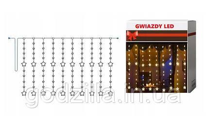 Новорічна гірлянда бахрома зірочки 5 м 175 LED (Теплий білий з холодною спалахом)