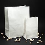 Бумажные крафт-пакеты белые с плоским дном 320*150*380 мм пакеты бумажные большие, фото 3