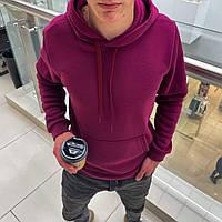 Мужской тёплый худи на флисе с капюшоном Бордовый