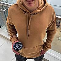 Мужской тёплый худи на флисе с капюшоном Коричневый