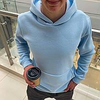 Мужской тёплый худи на флисе с капюшоном Голубой