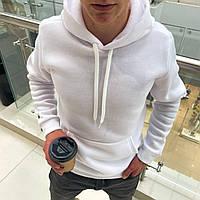 Мужской тёплый худи на флисе с капюшоном Белый