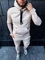 Теплый мужской спортивный костюм с лампасами Белый