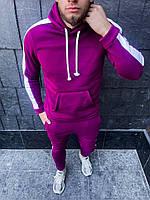 Теплый мужской спортивный костюм с лампасами Розовый