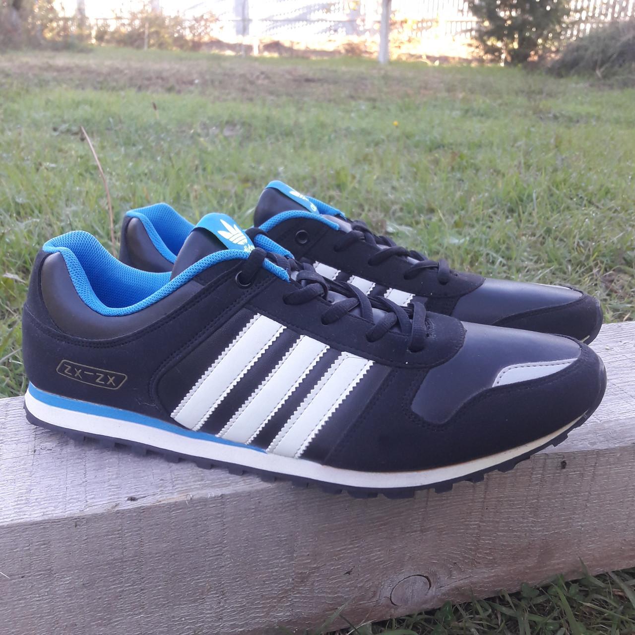Кроссовки Adidas р.44 чёрные кожзам сезон осень/весна
