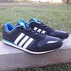 Кроссовки Adidas р.44 чёрные кожзам сезон осень/весна, фото 2