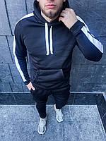 Теплый мужской спортивный костюм с лампасами Черный