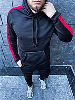 Теплый мужской спортивный костюм с лампасами Черный с красным