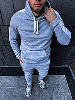 Теплый мужской спортивный костюм с лампасами Серый