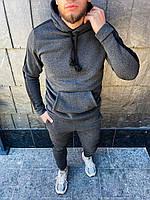 Теплый мужской спортивный костюм с лампасами Темно - серый