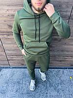 Теплый спортивный костюм однотонный, молодежный спортивный мужской комплект худи и штаны для прогулок на зиму