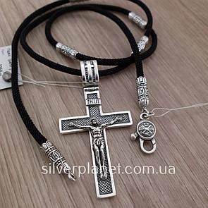 Комплект! Мужской серебряный крестик на шелковом шнурке. Черненый крест на шнуре с серебряным замком