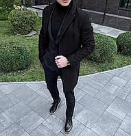 Пальто мужское кашемировое демисезонное V2 черное | Мужское пальто двубортное осеннее весеннее ЛЮКС качества