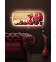 Картина с подсветкой 29х69 см Тропинка,Дерево в поле,Горное озеро,Камелия,Сердце города,Путешествие в горы