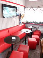 Посмотрите как наши клиенты оформили свое кафе, купленными у нас диванами и пуфиками. Красота да и только ! :)