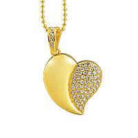 Флешка Сердечко с бриллиантиками золото