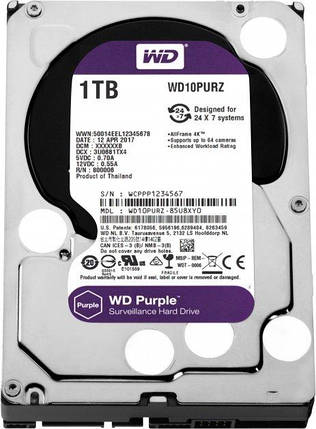 Жесткий диск Western Digital Purple 1TB 64MB 5400rpm WD10PURZ 3.5 SATA III, фото 2