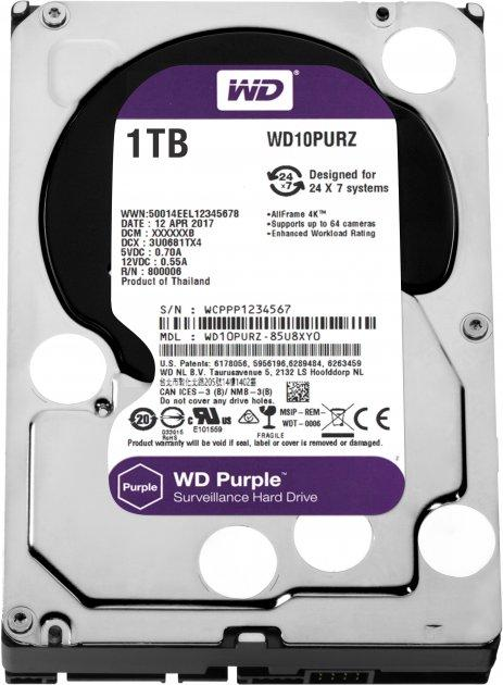 Жорсткий диск Western Digital Purple 1TB 5400rpm 64MB WD10PURZ 3.5 SATA III