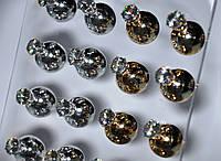 Серьги - пусеты с крупным камнем (12 пар)