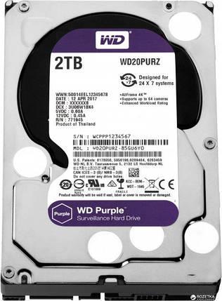 Жесткий диск Western Digital Purple 2TB 64MB 5400rpm WD20PURZ 3.5 SATA III, фото 2