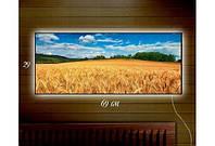 Картина с подсветкой 29х69 см Дерево, Пшеничное поле, Ракушка, Морской прибой, Рассвет