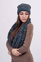 Стильный комплект из шапки шарфа,с меланжевой нити.