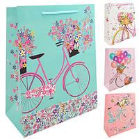 "Пакет подарочный бумажный L ""Sweet bicycle"" 31*42*12см, ЦЕНА ЗА УП. 12ШТ (360шт)"