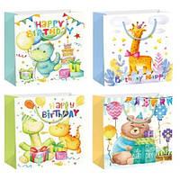 "Пакет подарочный бумажный S ""Happy Birthday4"", ЦЕНА ЗА УП. 12ШТ, 18*24*8,5см (720шт)"