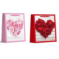 """Пакет подарочный бумажный XL """"Heart roses"""", ЦЕНА ЗА УП. 12ШТ, 40*55*15см (240шт)"""