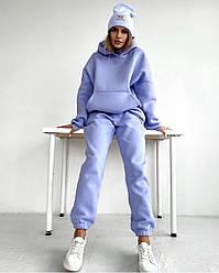 Жіночий зимовий спортивний костюм на флісі з об'ємним худі з крманами кенгуру Розміри - 42-44 та 44-46