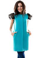 Женская стильная жилетка кашемир +натуральный олений мех