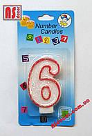 """Свеча на торт цифра 6 """"красный контур"""""""