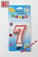 """Свеча на торт цифра 7 """"красный контур"""""""