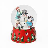 Музичний куля зі снігом і сніговиком всередині d-10 см