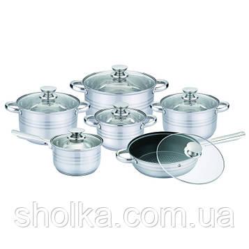 Набір посуду UNIQUE UN-5033 12пр. (каструлі: 2,1л, 2,9 л, 3,9, 6,2 л, з кришками) + сковорода 24см, ківш 16см