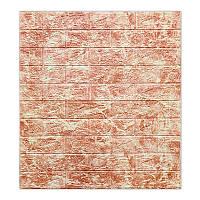 Декоративна самоклеюча 3Д панель для стін 700*770*5 світло-червоний мрамор фактура цегли