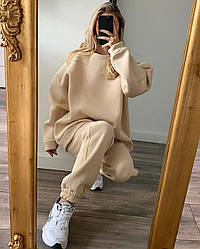 Жіночий зимовий костюм в стилі оверсайз з об'ємним худі Розміри: 42-44, 46-48